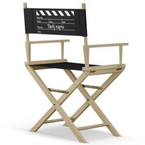 """Krzesło reżyserskie """"KLAPS"""" Twój napis naturalny dąb"""