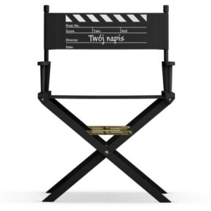 """Krzesło reżyserskie """"KLAPS"""" Twój napis CZARNE"""