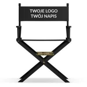 Krzesło reżyserskie Twój napis CZARNE