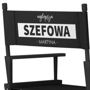 """Krzesło reżyserskie """"SZEFOWA"""" czarne"""