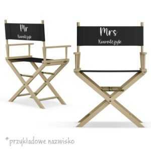 Komplet krzeseł dla nowożeńców MR i MRS naturalny