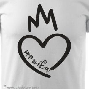 Koszulka duże serce TWOJE IMIĘ na walentynki DLA NIEGO